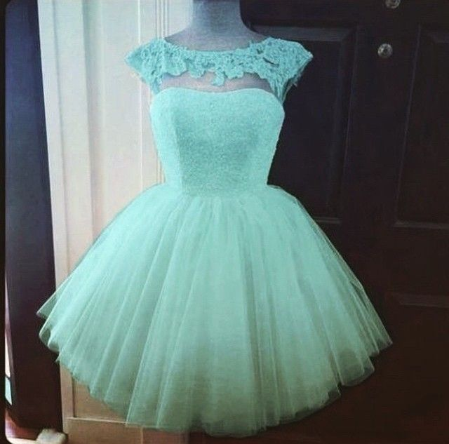 Simple-dress Elegant A-line Beading Scoop Blue Short Tulle Prom Dresses/Homecoming Dresses TUPD-70701