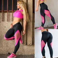 US Women's Sports Gym Yoga Workout Mesh Leggings Fitness Leotards Athletic Pants