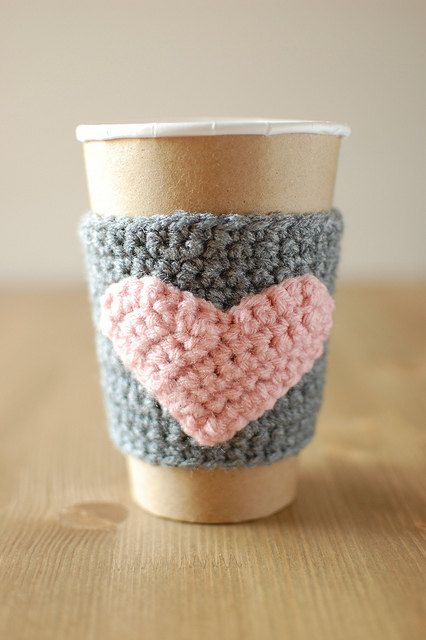 Cup cozy, Gray with Pink heart by The Cozy Project. $16.00, via Etsy.
