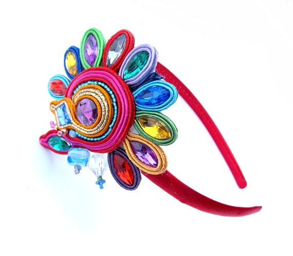 Glamour Headband Soutache Red Embroidered Hand door IncrediblesTN, $19.00 really special foryourlittle girl