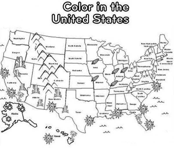 Maps Coloring Pages USA : Bulk Color in 2020 | 4th grade ...