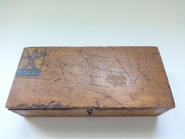 Box, Wood Box, Wooden Box, Exacto Box, Exacto, Small Box, Small Wood Box, Exacto Knife Box, Hobby Box, Wood Hobby Box, Hobby Tool Box by MalindaMay on Etsy