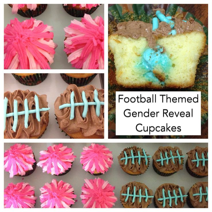 Gender reveal cupcakes. Football/tailgate themed.