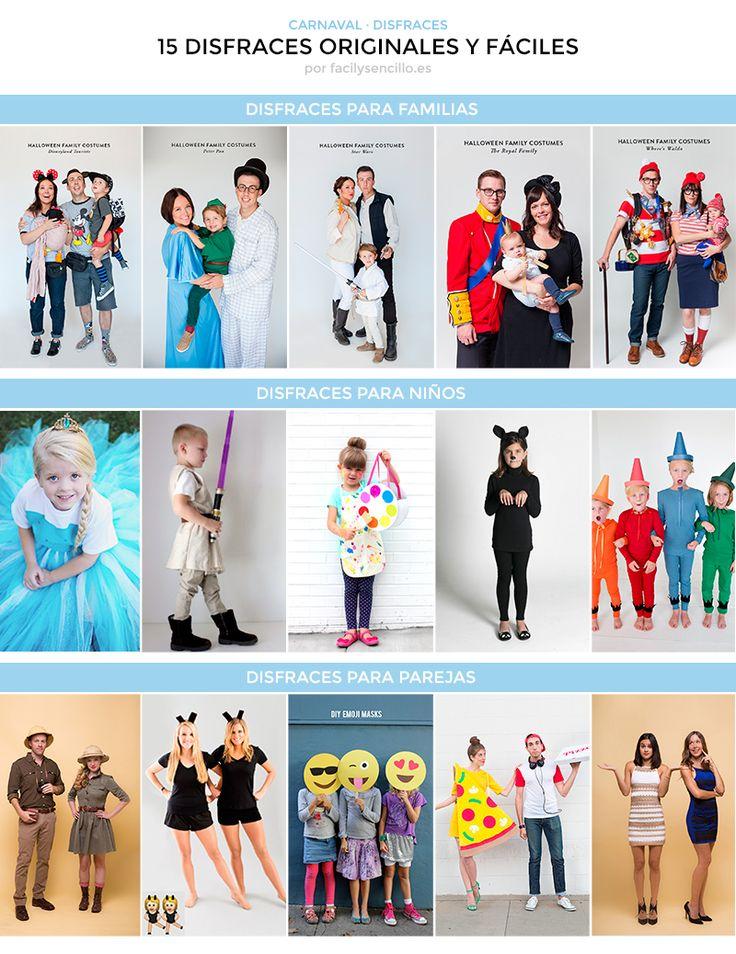 Tenemos el carnaval a la vuelta de la esquina y como cada año me gusta traerte algunas ideas fáciles de disfraces originales. Aquí tienes 15 disfraces originales para familias, niños y parejas. ¿Te animas con alguno?     DISFRACES PARA FAMILIAS Todas estas 5 ideas tan originales son del