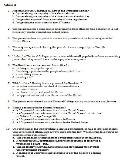 Sample Article II Questions from the Set of U.S. Constitution Quiz Questions. More than 100 questions covering all 7 Articles included!
