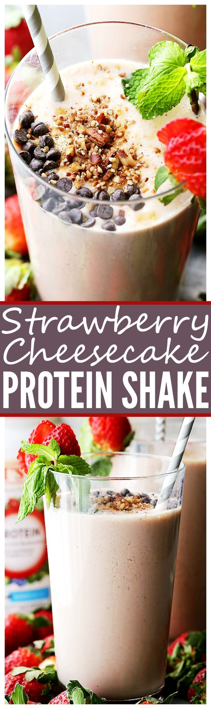 Strawberry Cheesecake Protein Shake - This amazing protein shake is just as delicious as a slice of strawberry cheesecake, BUT this is way healthier and it's packed with protein! In collaboration with @burtsbees #ad #drinkitallin
