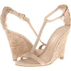 great wedge heel for garden outside weddings - Burberry Lace T-Strap Wedge