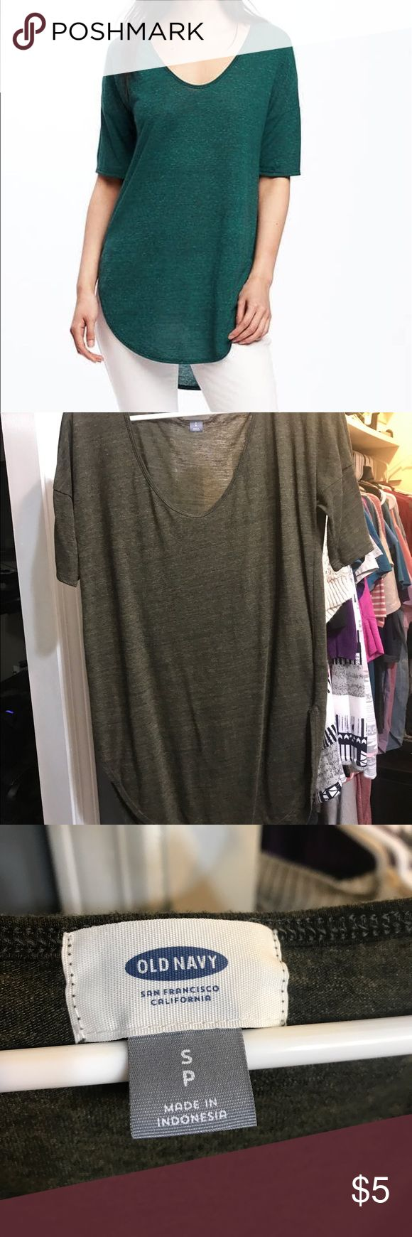 DARK OLIVE Old Navy tunic top Stock picture used to show fit only. This is a DARK OLIVE tunic top from Old Navy. So light and airy while still covering your lady parts when wearing leggings! Old Navy Tops Tunics