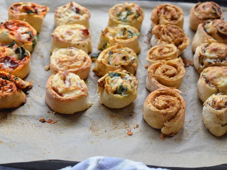 A basic 2 ingredient scrolls recipe is the base for 5 different topping ideas: Like Vegemite and cheese; pizza; and cinnamon and apple.
