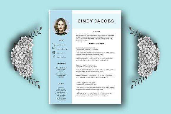 Professional resume template Word by Annakristal on @creativemarket