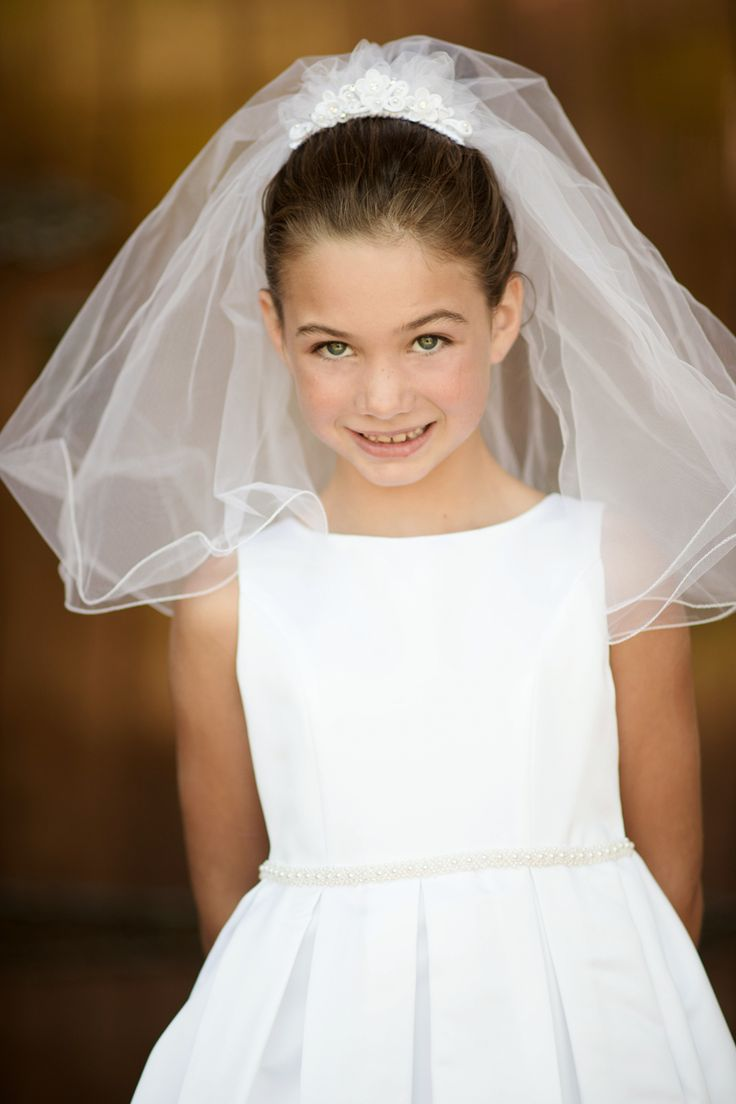 Box Pleats & Beaded Waist Bridal Matte Satin First Holy Communion Dress in White or Ivory (Girls Sizes 6 - 14)