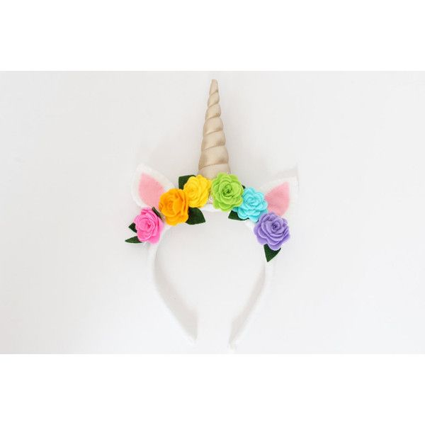 Unicorn Horn Headband with Rainbow Flowers, Golden Spiral Horn, Felt,... (£20) ❤ liked on Polyvore featuring accessories, hair accessories, felt headbands, flower headwrap, headband hair accessories, unicorn headband and head wrap hair accessories