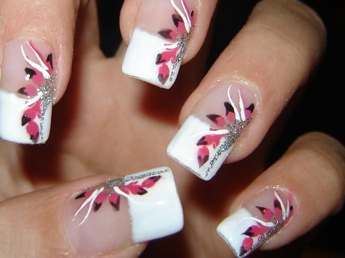 french manicure - floral -pink - silver - nail art