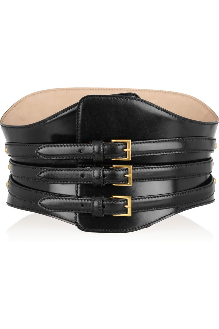 Alexander McQueen - Wide polished-leather waist belt.
