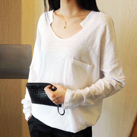 2017 осенью новый корейский Dongdaemun свободный большой размер v-образным вырезом с длинными рукавами футболки женская бамбуковая хлопчатобумажная рубашка грунтовка рубашка прилив - Taobao