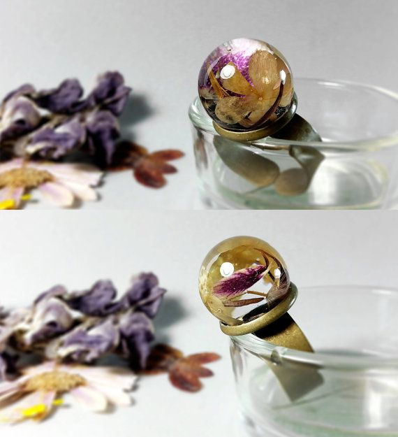 Pressed flower terrarium ring Dried flower sphere by ByEmilyRay