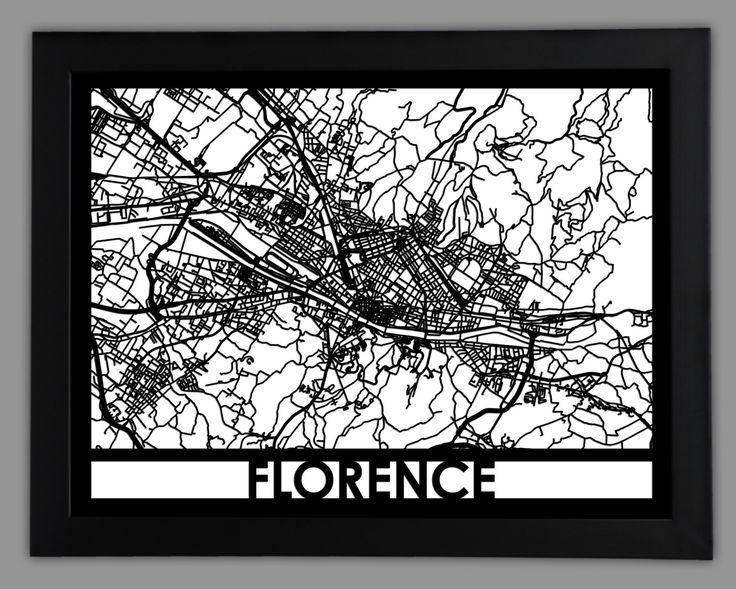 florence laser cut map 18x24 framed city map city wall art