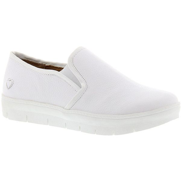 Nurse Mates Adela (995 ARS) ❤ liked on Polyvore featuring shoes, white, nurse mates shoes, white slip resistant shoes, leather slip on shoes, synthetic shoes and anti slip shoes