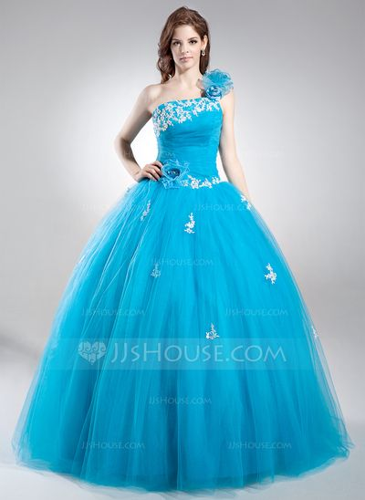 Quinceanera Dresses - $189.99 - Ball-Gown One-Shoulder Floor-Length Tulle Quinceanera Dress With Lace Beading Flower(s) Sequins (021016037) http://jjshouse.com/Ball-Gown-One-Shoulder-Floor-Length-Tulle-Quinceanera-Dress-With-Lace-Beading-Flower-S-Sequins-021016037-g16037?pos=your_recent_history_2