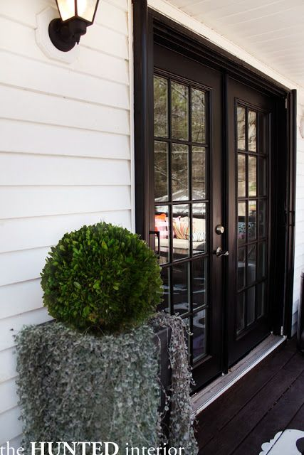 Black French Doors Boxwood Planter Outdoor Spaces