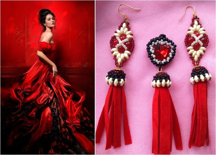 """Earrings and pendant set """"Flame and shadow"""".  Handmade jewellery set, earring and matching pendant. Beadwoven jewelleries using Czech and japanese rocailles, superduos, carnelian pearls and heart shaped rivoli."""