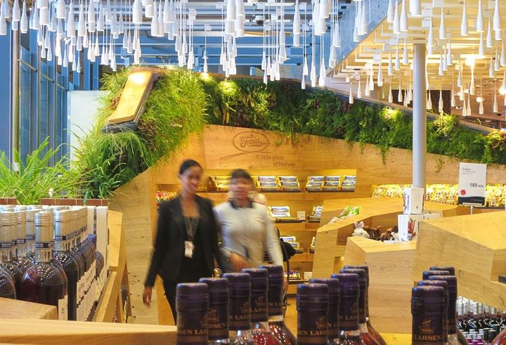 Vertical gardens at Heinemann Duty Free Shop by Snøhetta, Oslo