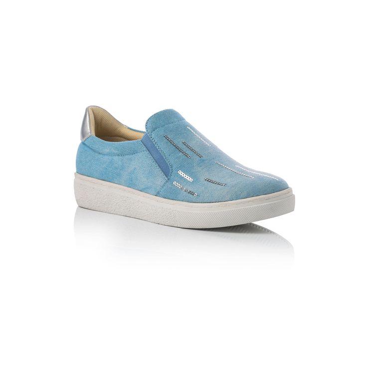£: Slip on in tessuto blu jeans