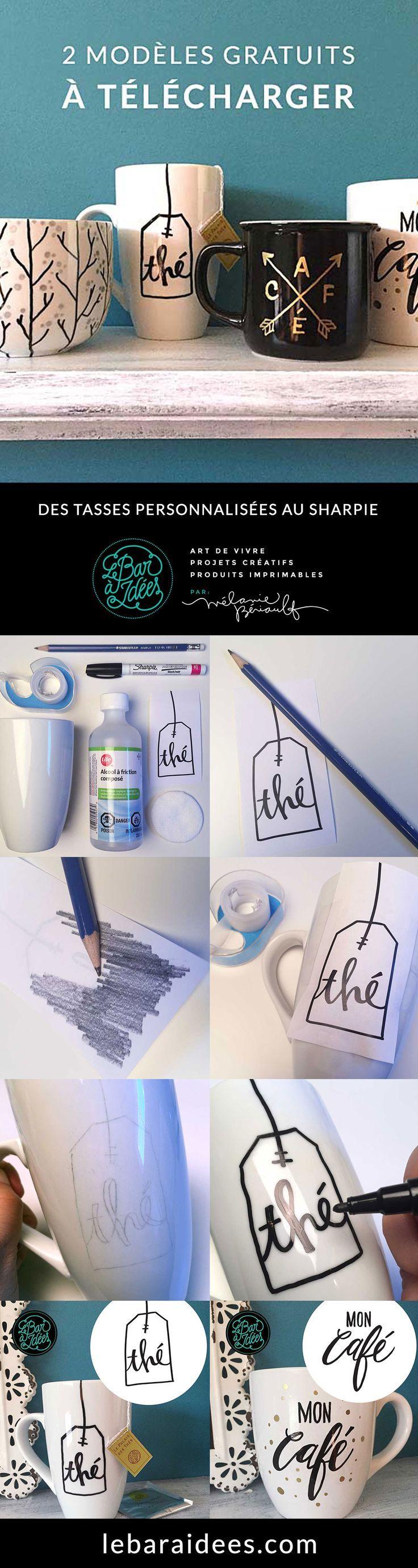 Personnaliser des tasses à l'aide de marqueurs Sharpie + 2 modèles à télécharger gratuitement. - Sharpie Mug + free design download.