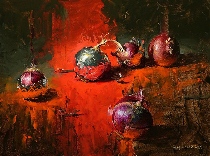 Bedlam of Foil and Onions by David Cheifetz Oil ~ 9 x 12