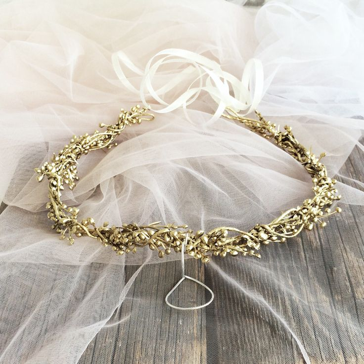 Excited to share the latest addition to my #etsy shop: Gold headband, gold crown, gold floral crown, bridal floral crown, rustic crown, woodland headwreath, holiday crown, berries crown, twig cro