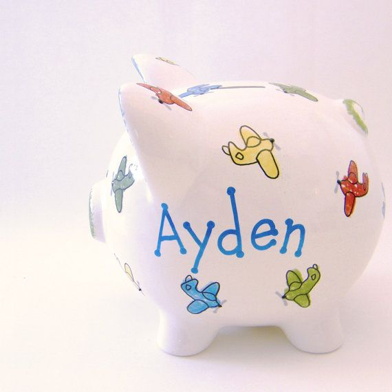 #Airplane Personalized Ceramic #PiggyBank by #ThePigPen, $42.50