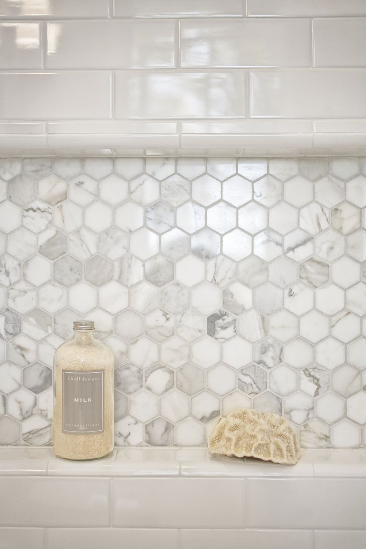 Mill Valley Estate bathroom. Shower niche tile is calacatta hexagon - Kcs, inc.