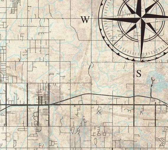 OKLAHOMA CITY Canvas Print Vintage map OKC by NatalyBorichArt