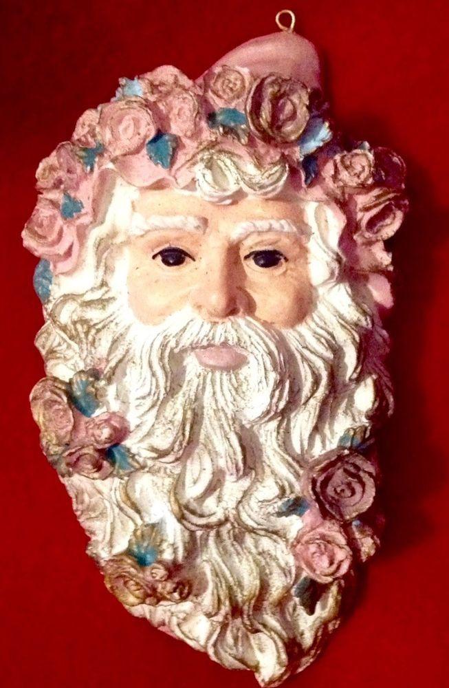 Victorian Santa Christmas Ornament Wall Hanging Bacchus Wine God Pink Ivory Rose #Bacchus