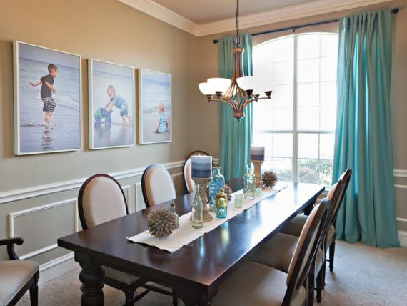 Dark Table Light Walls Love The Curtain Color With It And I How Large Family Photos Tie In