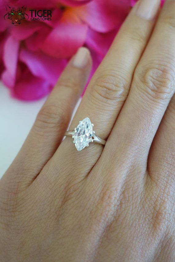 2 Carat Marquise Cut Engagement Ring Wedding by TigerGemstones