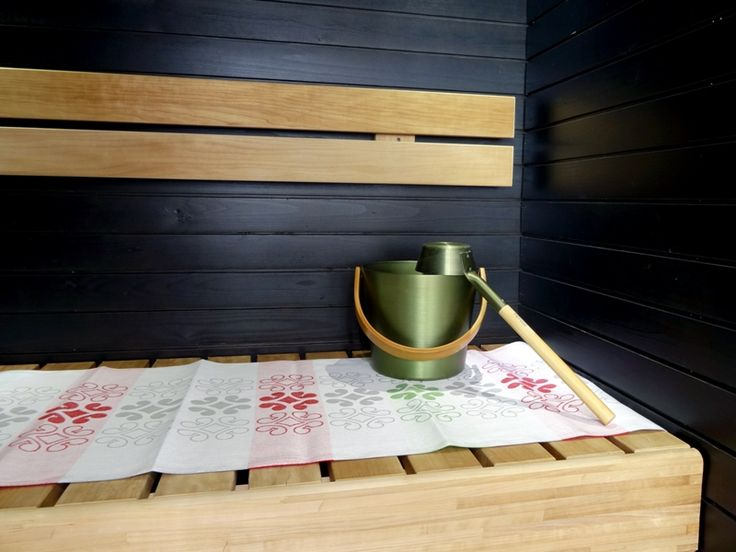 Hiisi Hill Collection sauna seat cover! Inspiration for this Sauna seat cover comes from a bronze brooch dating back to Merovingian Age (approx. 550-800 AD) which was found in Hiidenmäki, Jämsä. Seat covers are made in Finland by Lapuan Kankurit.