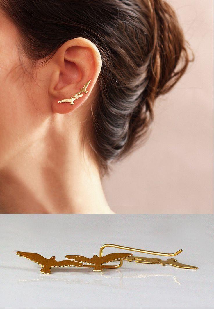 Beautiful Bird Ear Climber Earrings Gold Ear Cuff Gold Ear Pins Ear Cuff