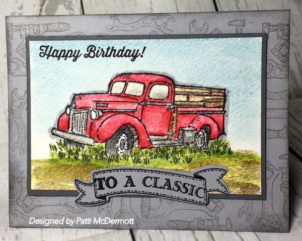 I love this new set with the vintage images. So cool. Here I used our classic inks with the aqua painter, page 180, and watercolor paper, page 175 to paint the classic truck. I used real Red, soft sky