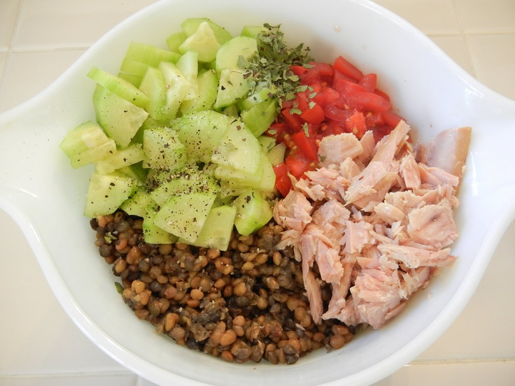 Shelly's Tuna  Lentil Salad    1 1/2 cups cooked Lentils  1 Cucumber, chopped  2 Tomatoes, chopped  1 can Tuna Fillets, packed in Olive Oil, drained (I love Ventresca Filets)  1 Tablespoon of some Fruity Vinegar (Citrusy, Lemon, Champagne)  1/2 teaspoon Oregano  Kosher Salt to taste  a few twists of Black Pepper