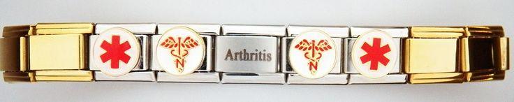 Gold Plated Arthritis Medical Alert Bracelet www.steelbells.com