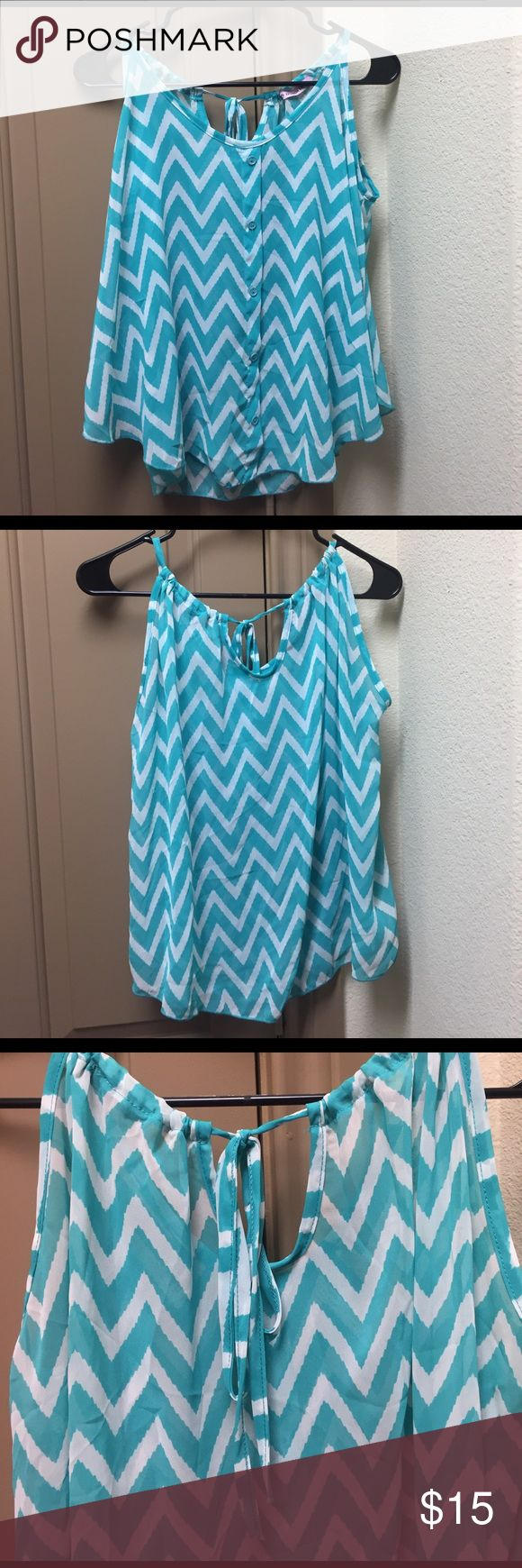 Turquoise chevron print tank shirt Super cute, comfy, flowy and perfect for summer. Tops Tank Tops