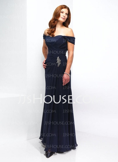 Mother of the Bride Dresses - $153.29 - A-Line/Princess Off-the-Shoulder Floor-Length Chiffon  Charmeuse Mother of the Bride Dresses With Ruffle  Beading (008006068) http://jjshouse.com/A-line-Princess-Off-the-shoulder-Floor-length-Chiffon--Charmeuse-Mother-Of-The-Bride-Dresses-With-Ruffle--Beading-008006068-g6068