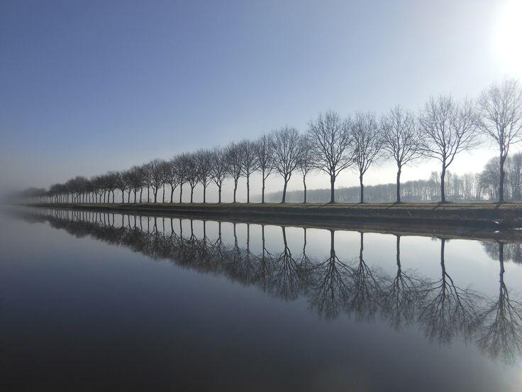 Drenthe, 11 maart 2015 's morgens vroeg langs de Hoogeveensche Vaart tussen Meppel en Rogat