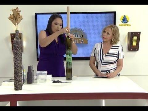 DIY - Faça uma garrafa decorada com estilo rústico --- Botella rústico con el periódico. - YouTube