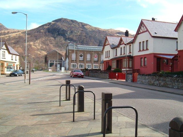 The centre of Kinlochleven on a quiet morning