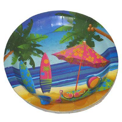 Party bordjes hawaii. Kleurige party bordjes hawaii met strand, zee, surfplanken en palmboom afbeeldingen. Deze hawaii wegwerp bordjes zijn van papier/kartonnen materiaal. Deze hawaii borden zitten verpakt per 8 stuks en hebben een diameter van ongeveer 23 cm.