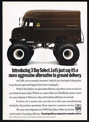1993 (UPS) United Parcel Service Aggressive Monster Truck Print Ad ~ Original Magazine Advertisement