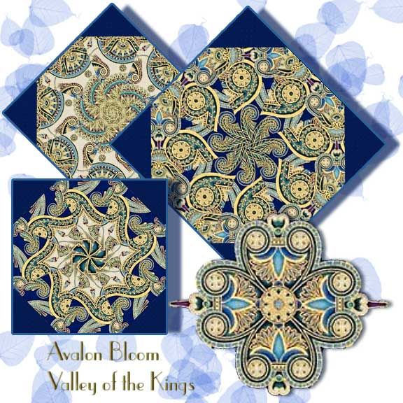 Valley of the Kings 2 Kaleidoscope Quilt Block Kit Designed for Robert Kaufman Fabrics, this sophisticated print evokes a feeling of ancient Egypt with its medallion motifs. Valley of the Kings 2 by Robert Kaufman SRKM-16283-201 JEWEL. The precut corners are included. This is a precut kit to sew a set of 12 kaleidoscope quilt blocks. Finished dimension for all blocks sewn together is 24 X 32 inches Each block measures 8 1/2 inches square when sewn.Fast and Easy Blooming Blocks©.