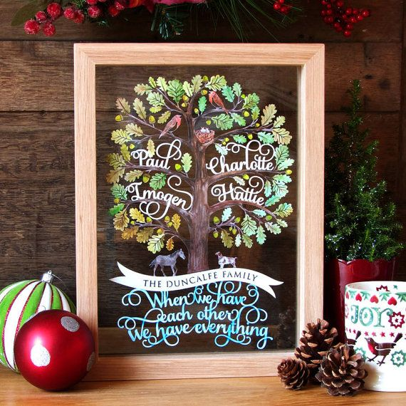 Personalised Family Tree Papercut Template Christmas Gift PDF